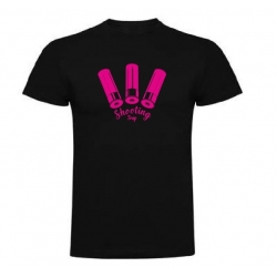 Camiseta Shooting Trap Cartuchos Negra/Rosa